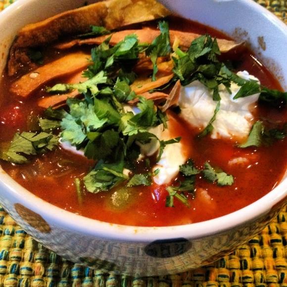 Vegetarian Tortilla Soup Recipe — Dishmaps