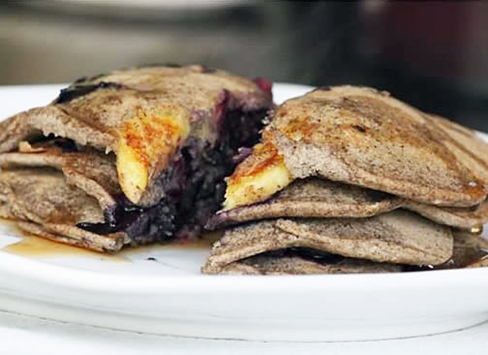 Blueberry Banana Buckwheat Pancakes | Lonely Wife Project
